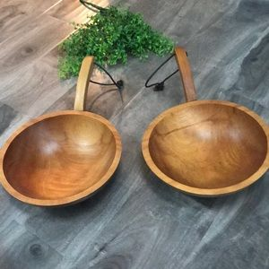 VINTAGE Baribomaid wood serving bowls w/ handles